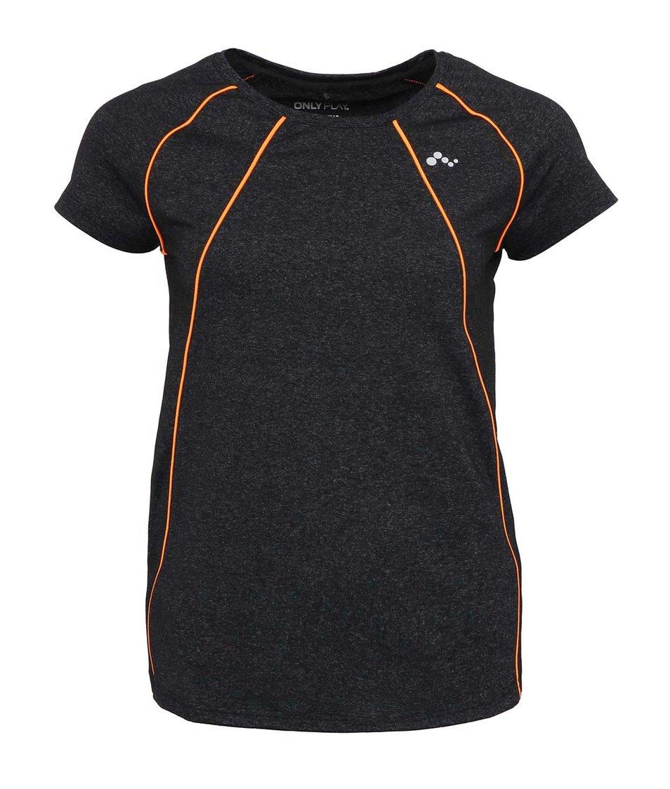 Tmavě šedé sportovní tričko s neonově oranžovými detaily Only Play Bianca