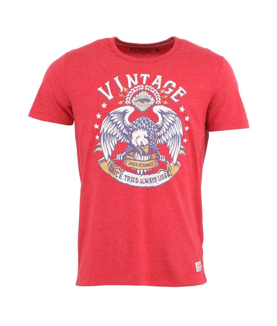 Červené triko s potiskem Jack & Jones Burn Tee