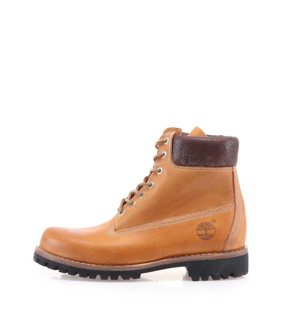 Hnědé pánské kožené nepromokavé boty Timberland Heritage