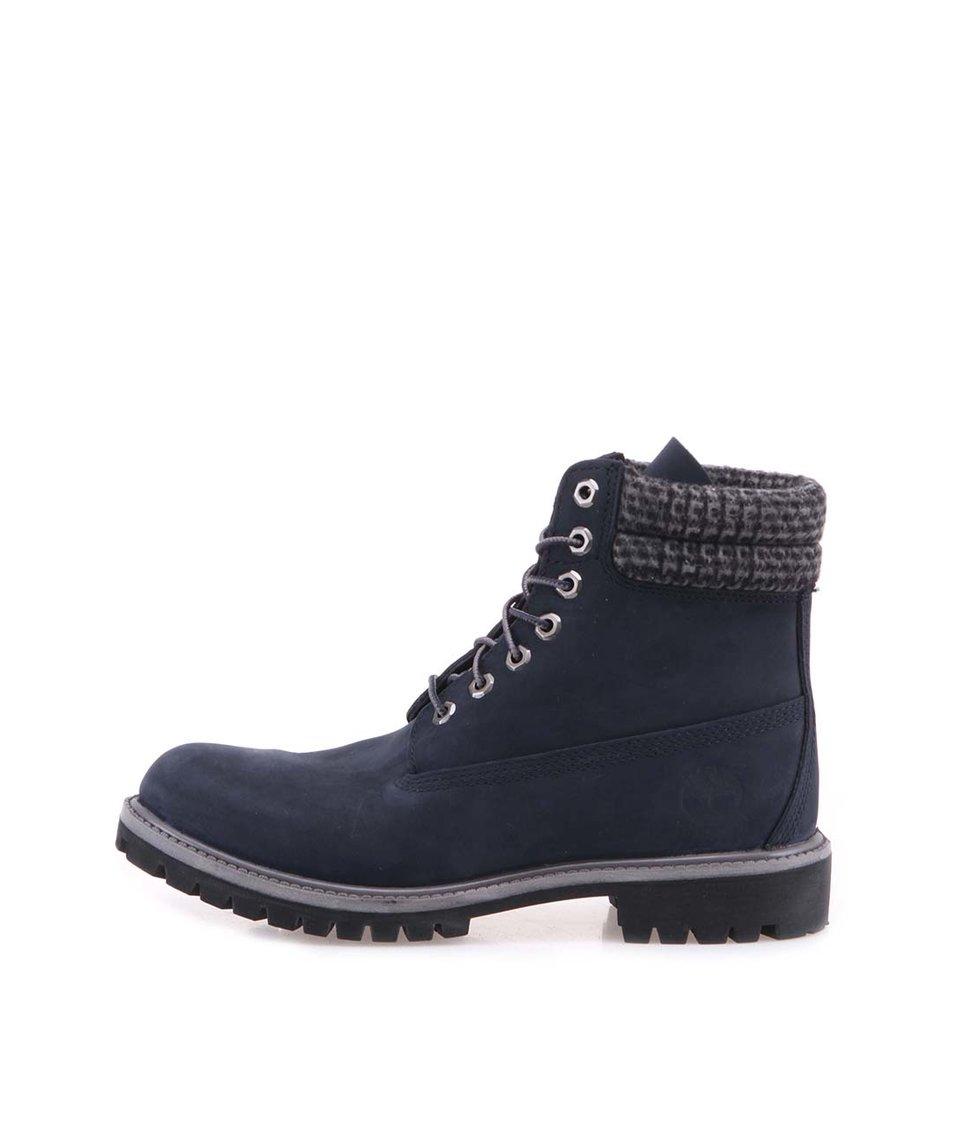Tmavě modré pánské kožené nepromokavé boty Timberland 6-Inch Premium