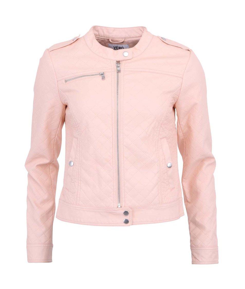 Meruňkově růžová koženková bunda Vero Moda Beggar