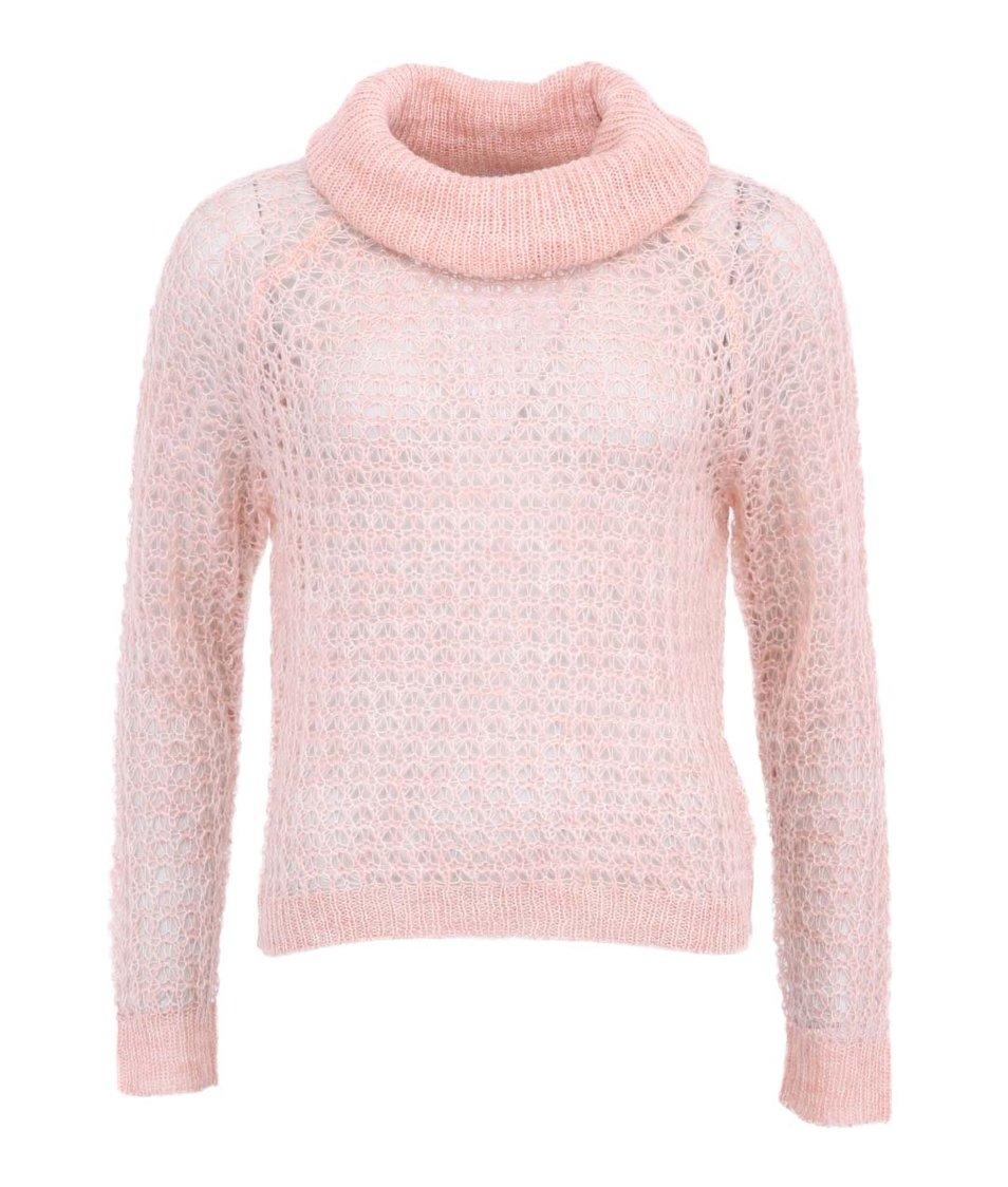 Meruňkově růžový kratší svetr s rolákem Vero Moda Million