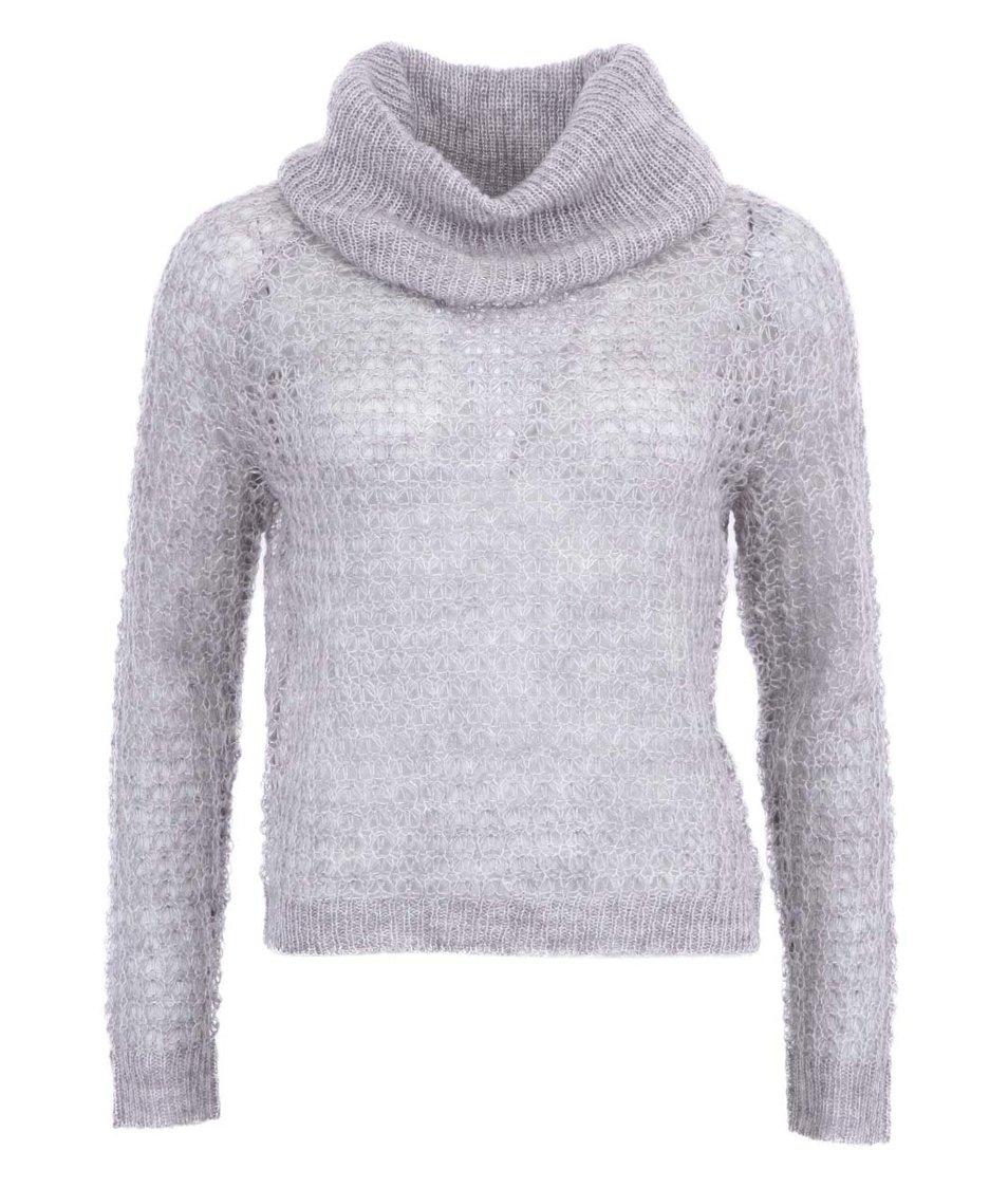 Šedý kratší svetr s rolákem Vero Moda Million