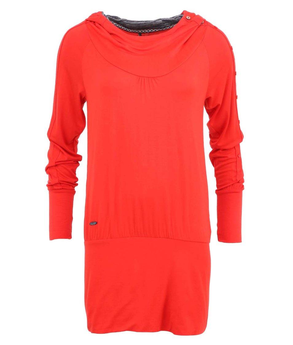 Červené dámské šaty s knoflíky na rukávech Ragwear Iconic