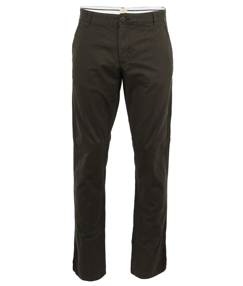 Tmavě zelené chino kalhoty Selected Three Paris