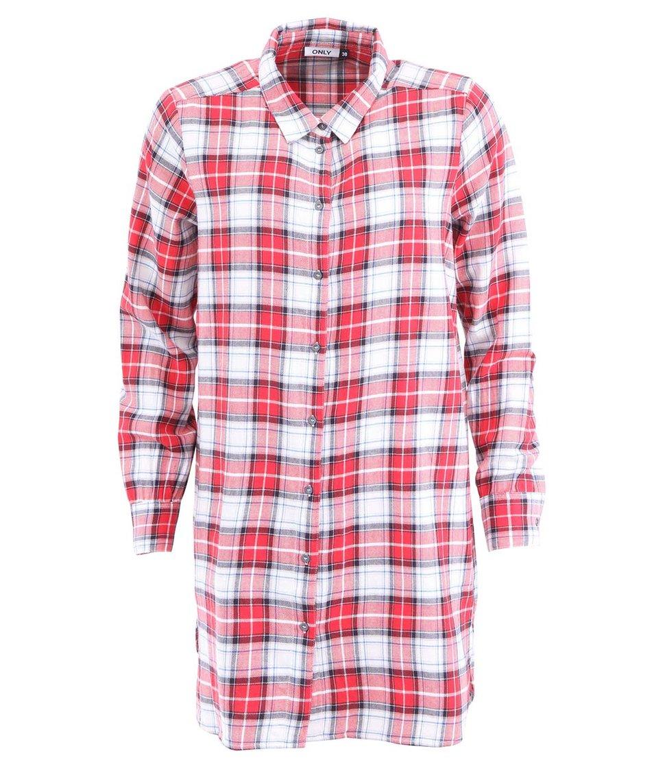 Bílo-červená košile s tartanovým vzorem ONLY Madja
