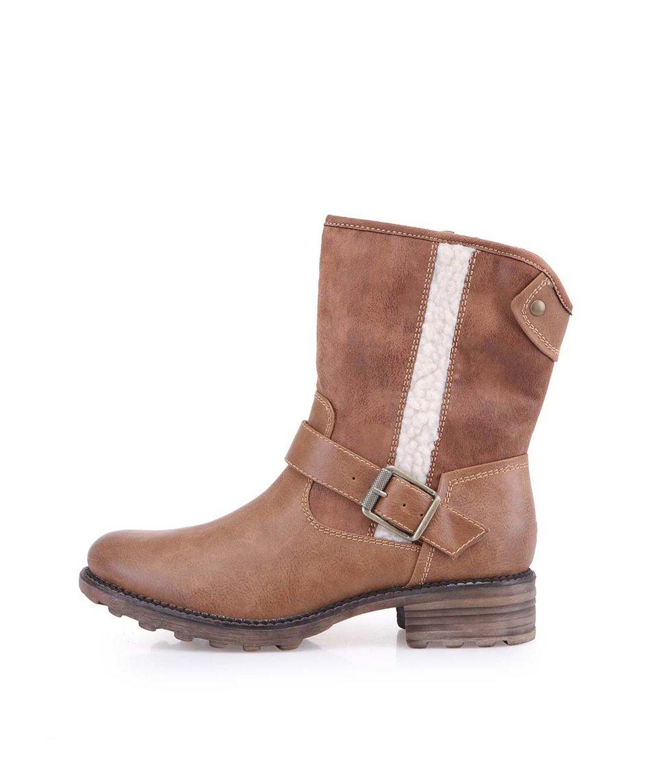Hnědé vyšší kotníkové boty s přezkou Tamaris