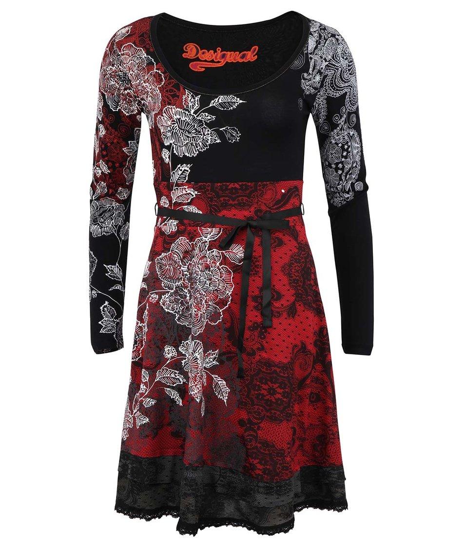 Černo-šedé vzorované šaty s dlouhými rukávy Desigual Celine
