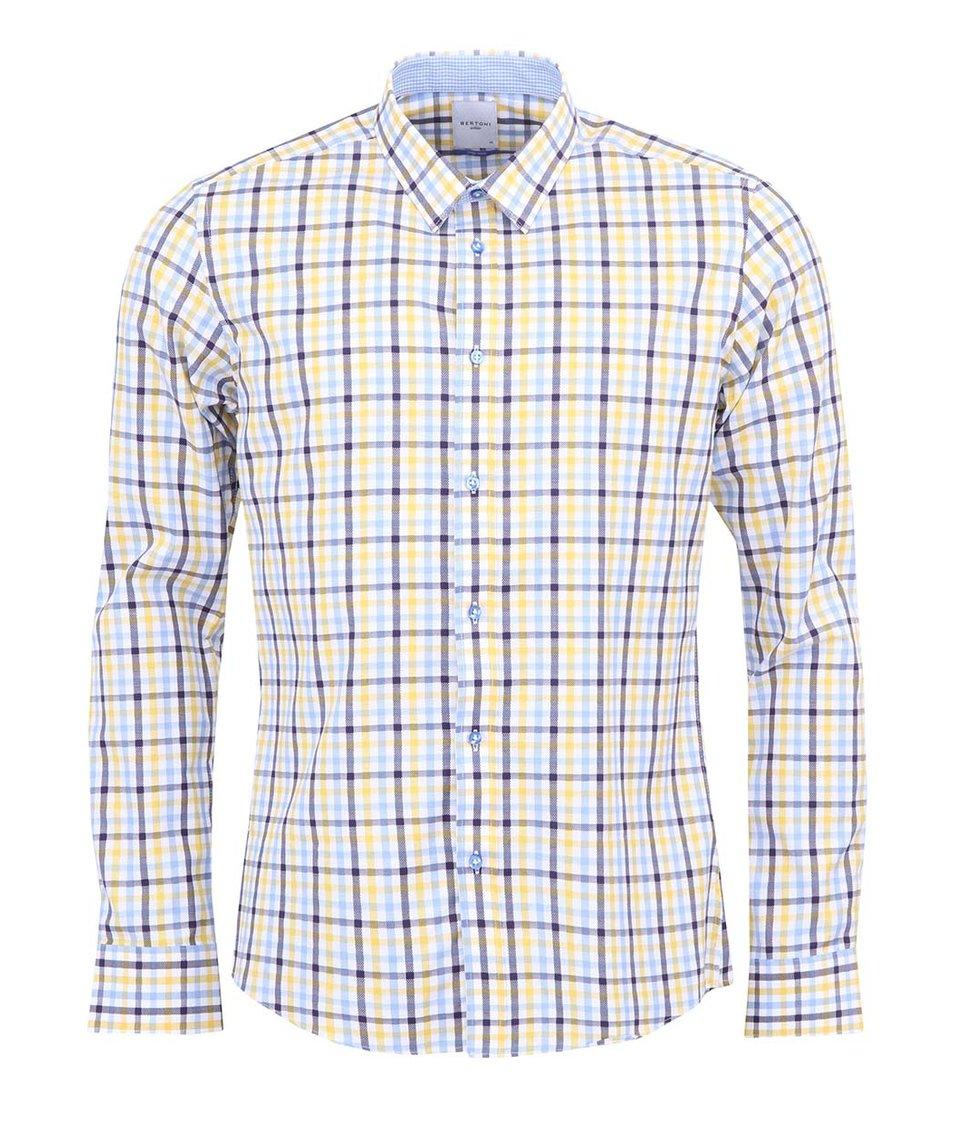 Bílá košile se žluto-modrými kostkami Bertoni Slim Fit
