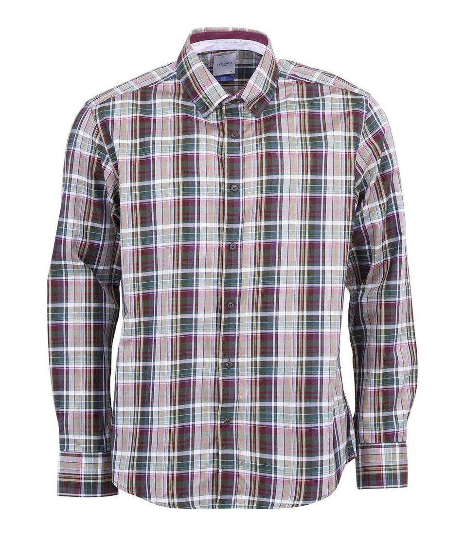Fialovo-zelená košile s tartanovým vzorem Bertoni Slim Fit