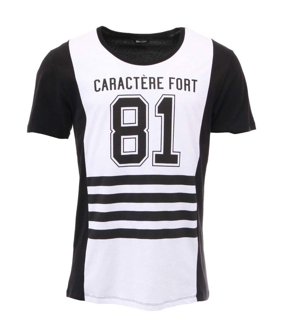 Bílo-černé tričko s potiskem ONLY & SON