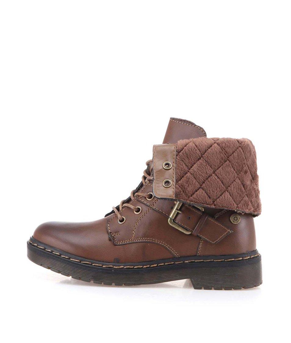 Hnědé dámské zimní boty s ozdobnou přezkou Xti