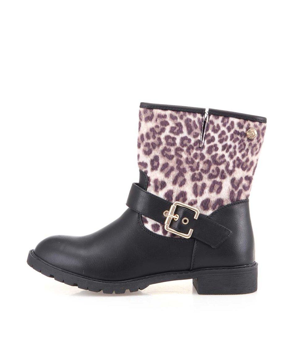 Černé kotníkové boty s leopardím vzorem Xti