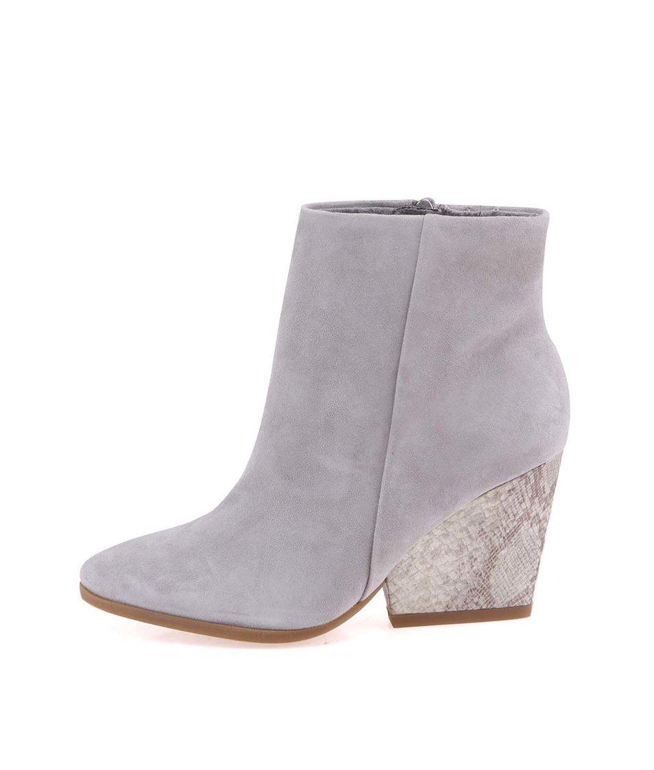 Šedé kožené boty na podpatku Tamaris