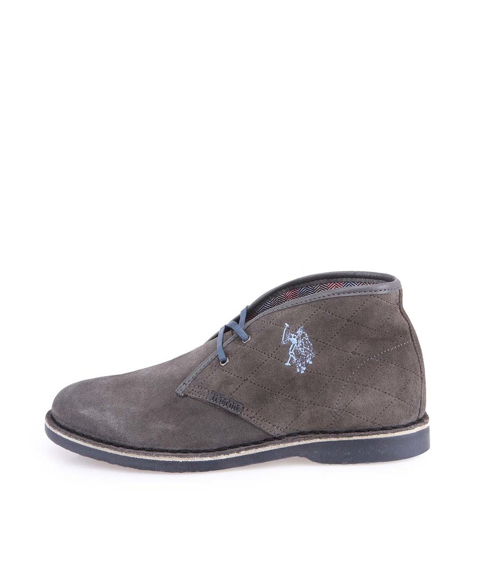 Tmavě šedé dámské kožené boty U.S. Polo Assn. Glenda Quilted