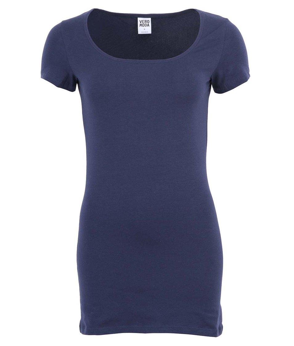 Tmavě modré delší triko Vero Moda Maxi My