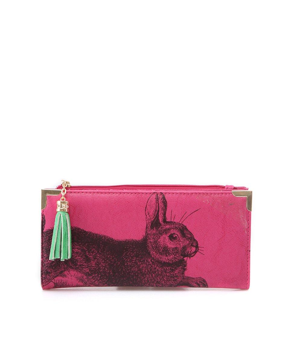 Růžová rozkládací peněženka s králíkem Disaster Bohemia
