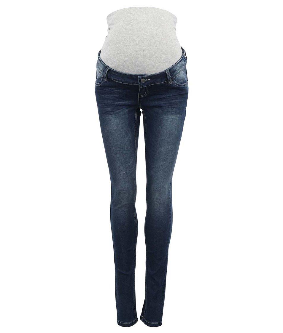 Modré těhotenské skinny džíny s ošoupaným efektem Mama.licious Ida