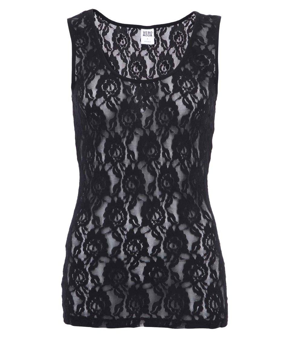 Černé dámské krajkové tílko Vero Moda Lilly