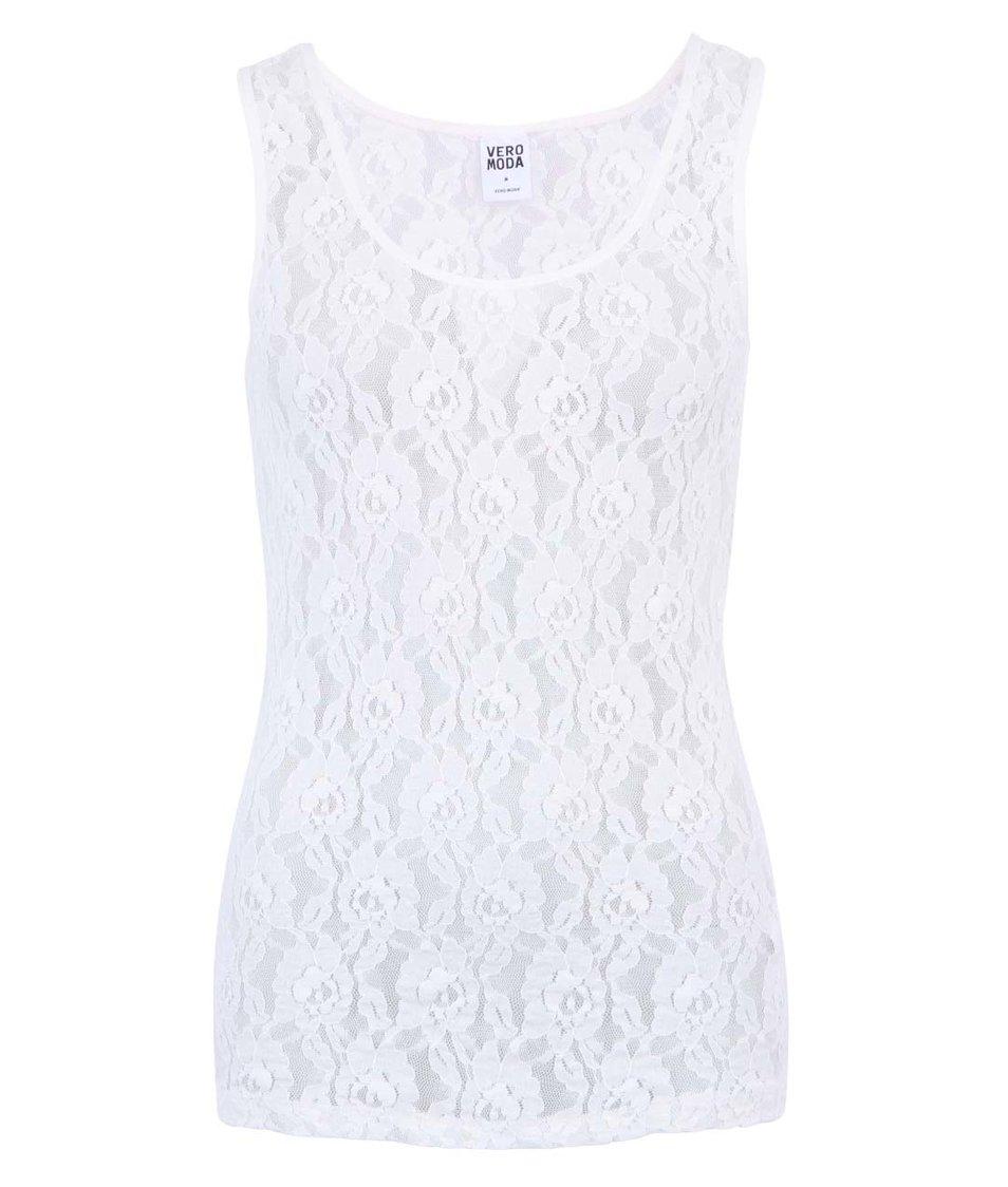 Bílé dámské krajkové tílko Vero Moda Lilly