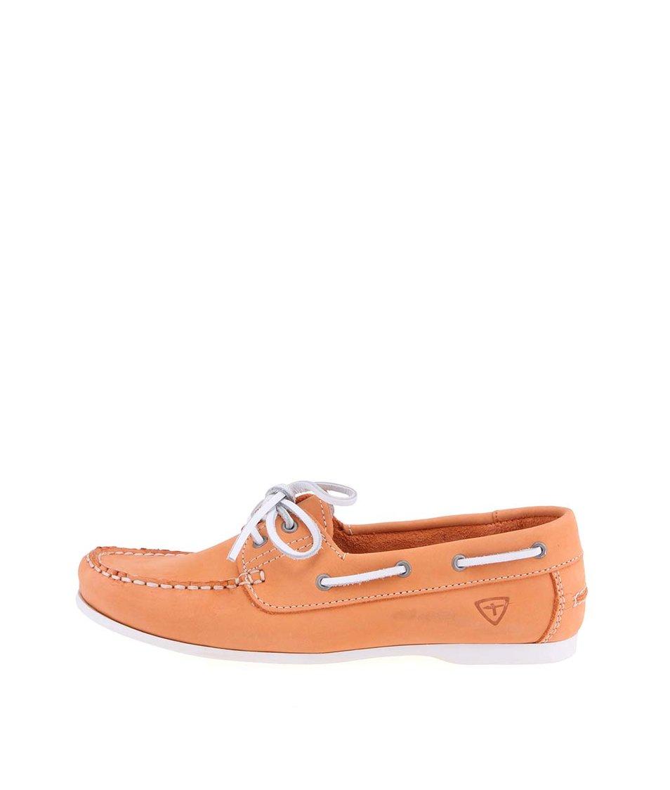 Oranžové kožené mokasíny s koženou tkaničkou Tamaris