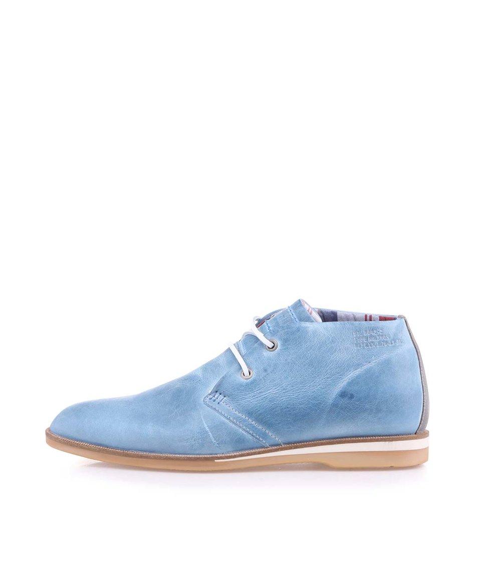 Modré pánské kožené desert boty Bullboxer