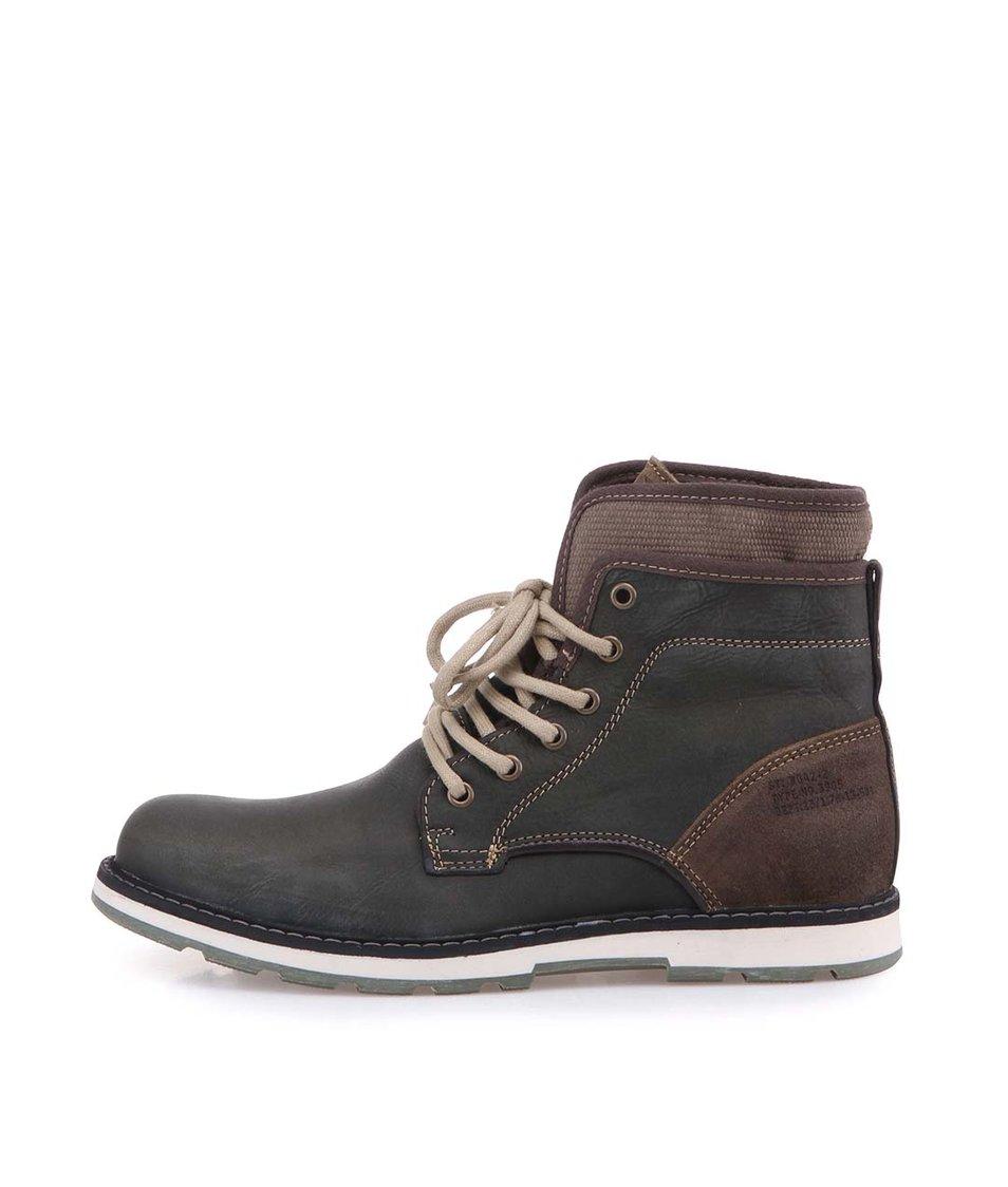 Tmavší šedozelené pánské kožené kotníkové boty Bullboxer