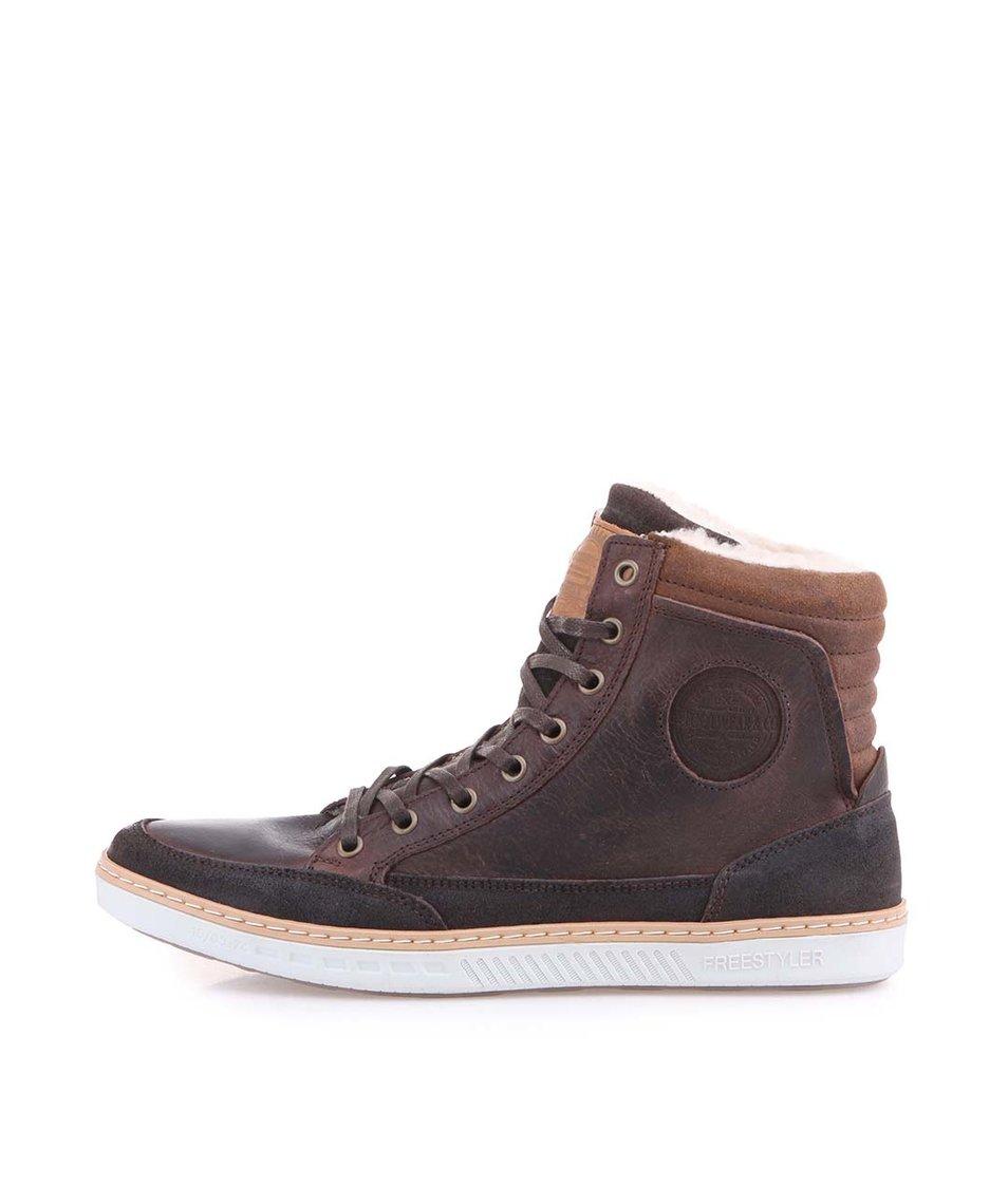 Tmavě hnědé pánské kožené kotníkové boty s kožešinou Bullboxer Freestyler