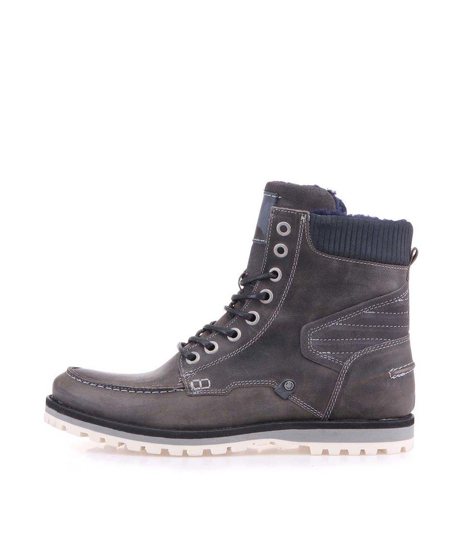 Šedé pánské kožené kotníkové boty s modrou kožešinou Bullboxer