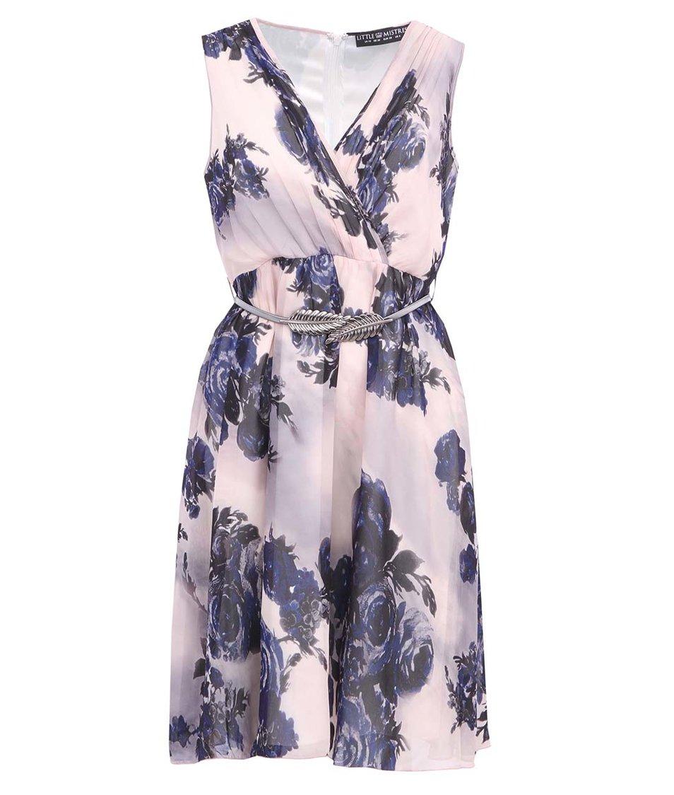 Fialovorůžové šaty s květinovým potiskem a páskem Little Mistress