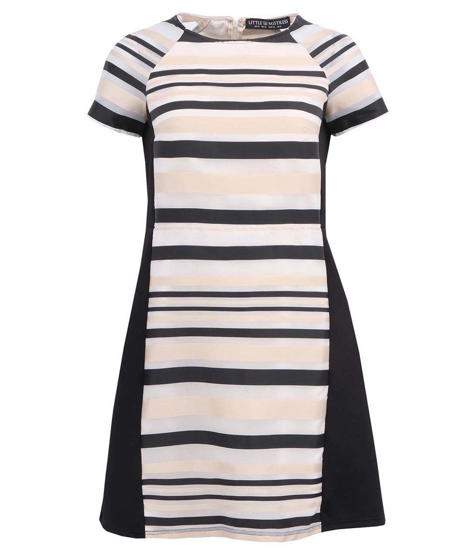 Černo-krémové pruhované šaty Little Mistress