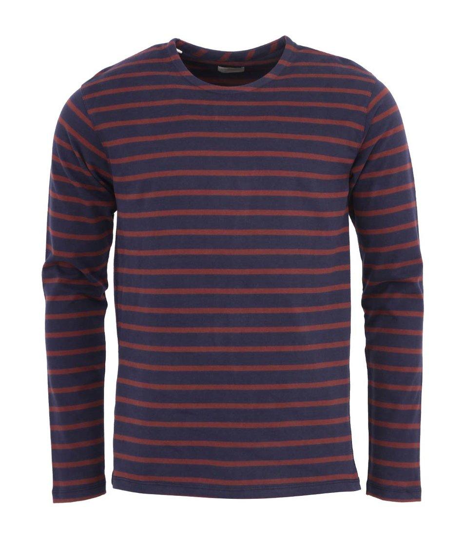 Hnědo-modré pruhované triko s dlouhým rukávem Selected Trav