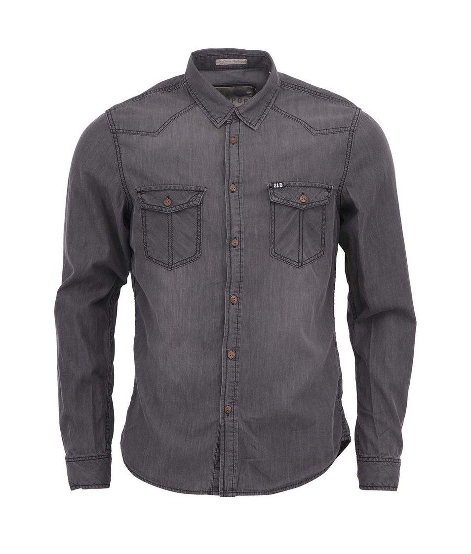 Šedá džínová košile !Solid