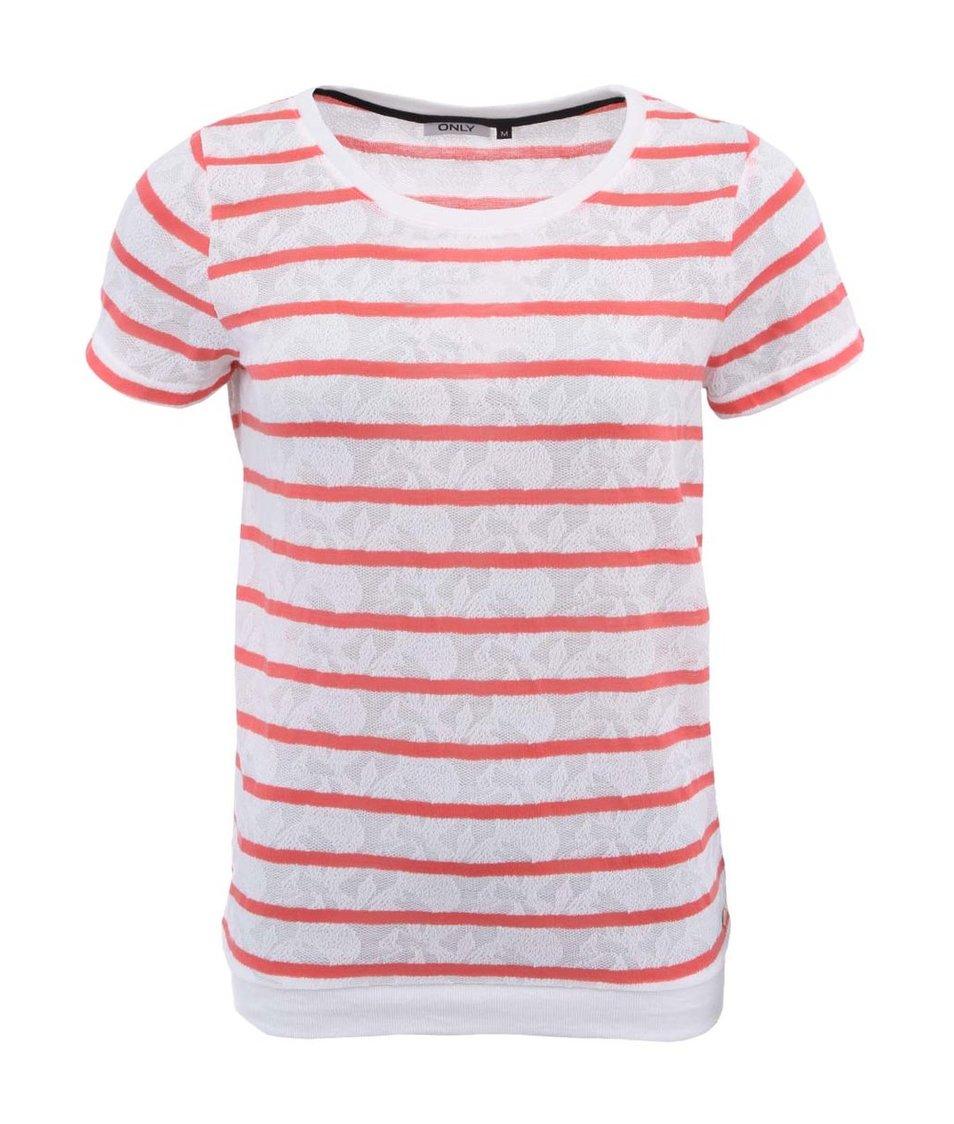 Korálovo-bílé pruhované tričko ONLY Zumia