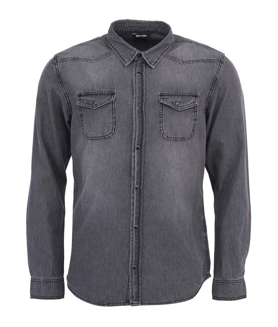 Tmavě šedá džínová košile ONLY & SONS Jay Western