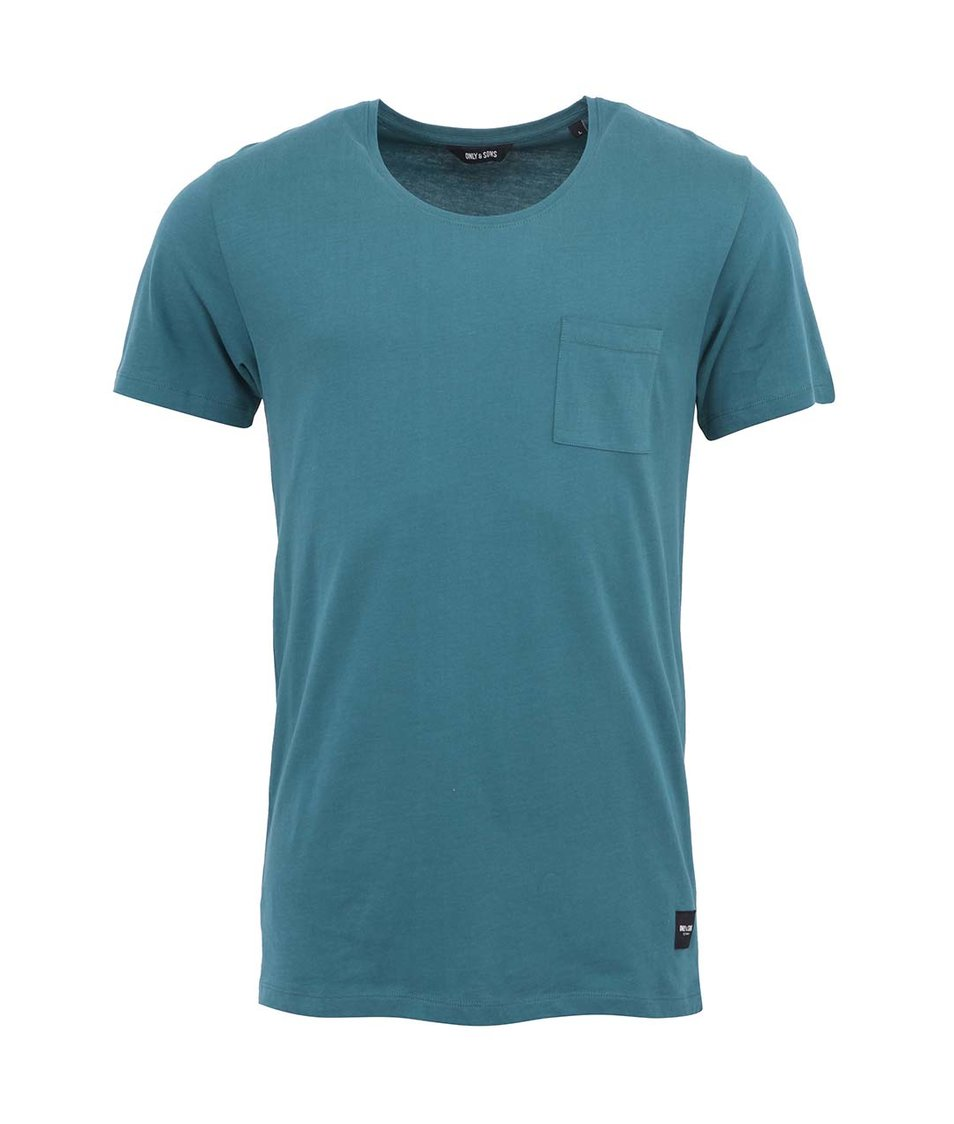 Modrozelené triko s kapsou ONLY & SONS Cave