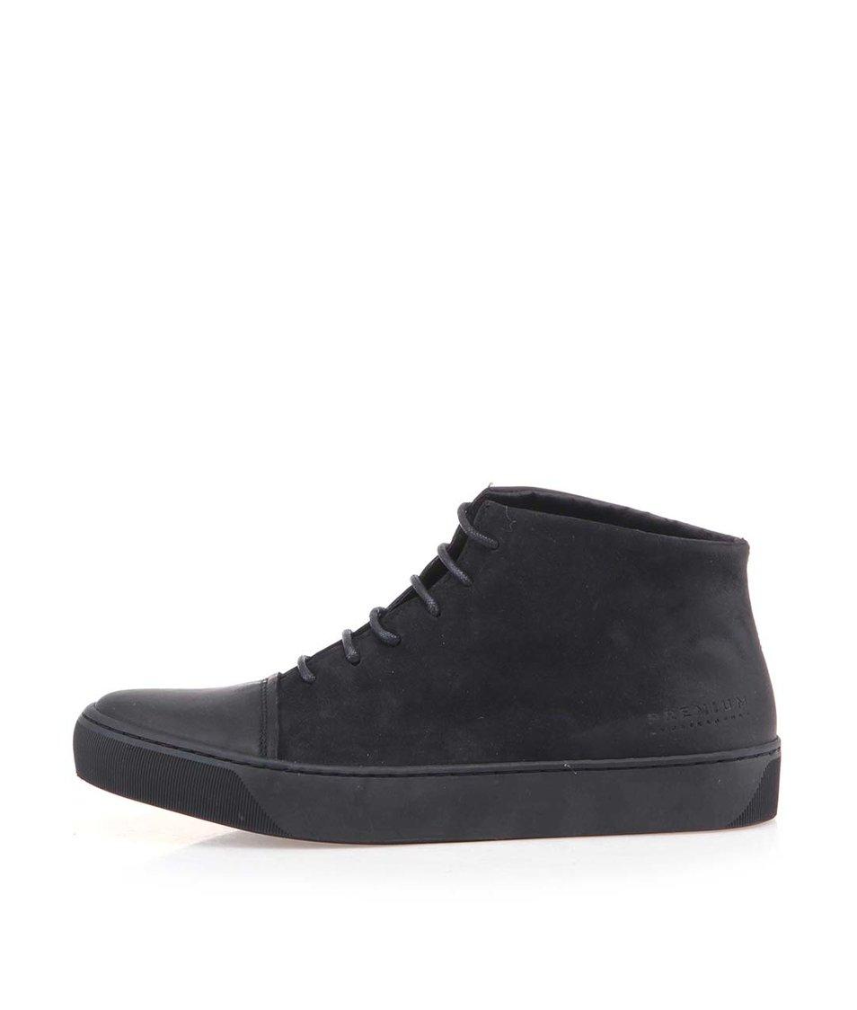 Černé kožené kotníkové boty Jack & Jones Layton
