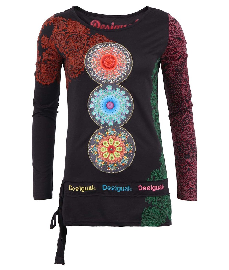 Šedé dámské tričko s barevnými ornamenty Desigual Lena