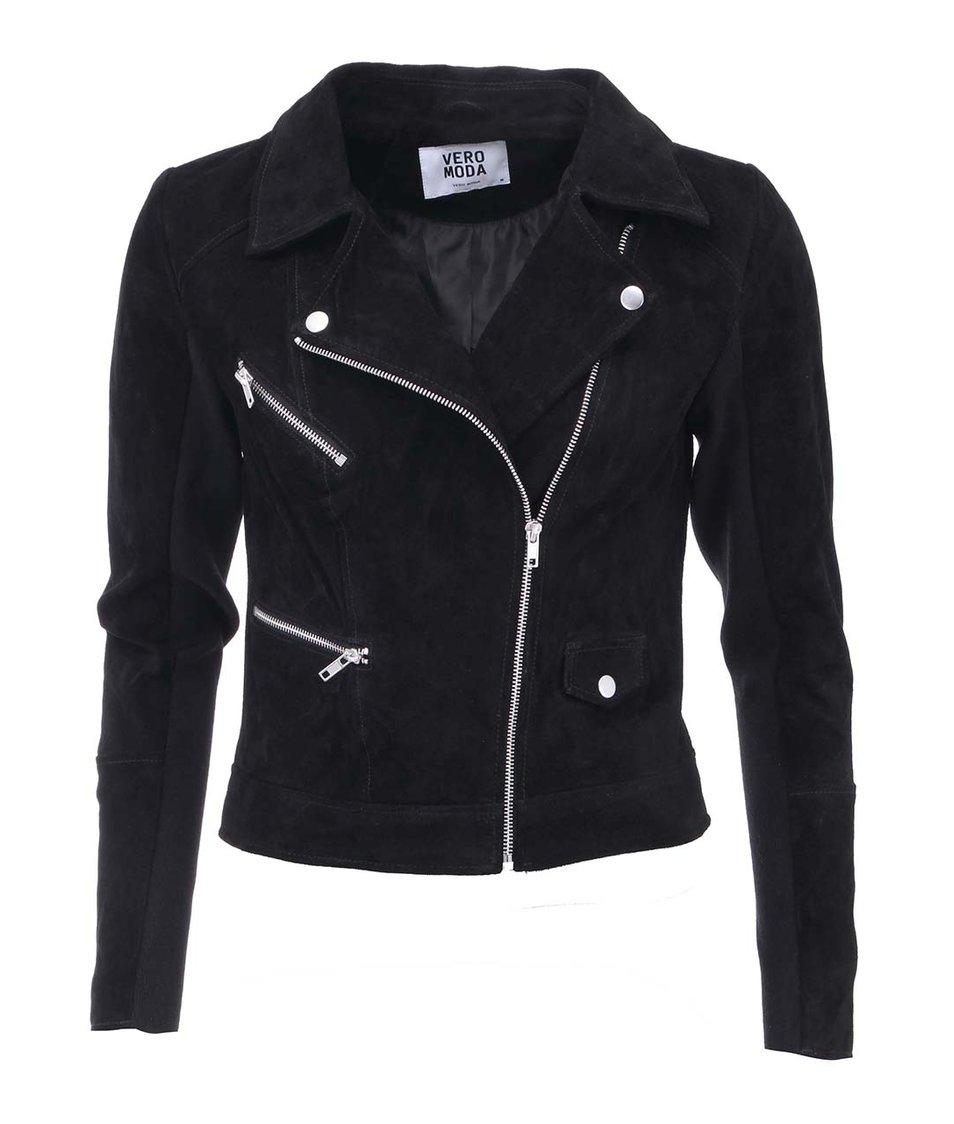 Černá kožená bunda Vero Moda Marli