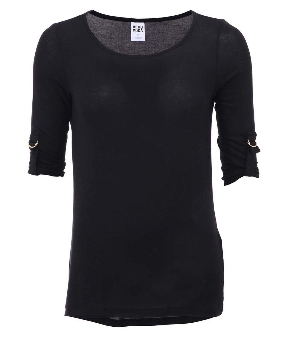 Černé tričko s 3/4 rukávem Vero Moda Burcu