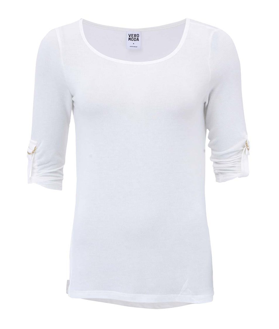 Bílé tričko s 3/4 rukávem Vero Moda Burcu