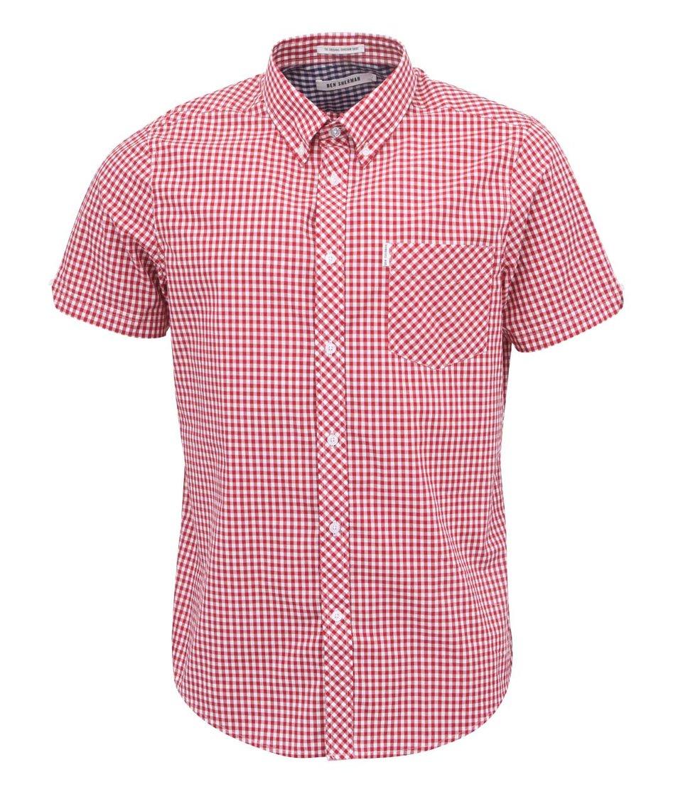 Bílo-červená kostkovaná košile s krátkými rukávy Ben Sherman Gingham