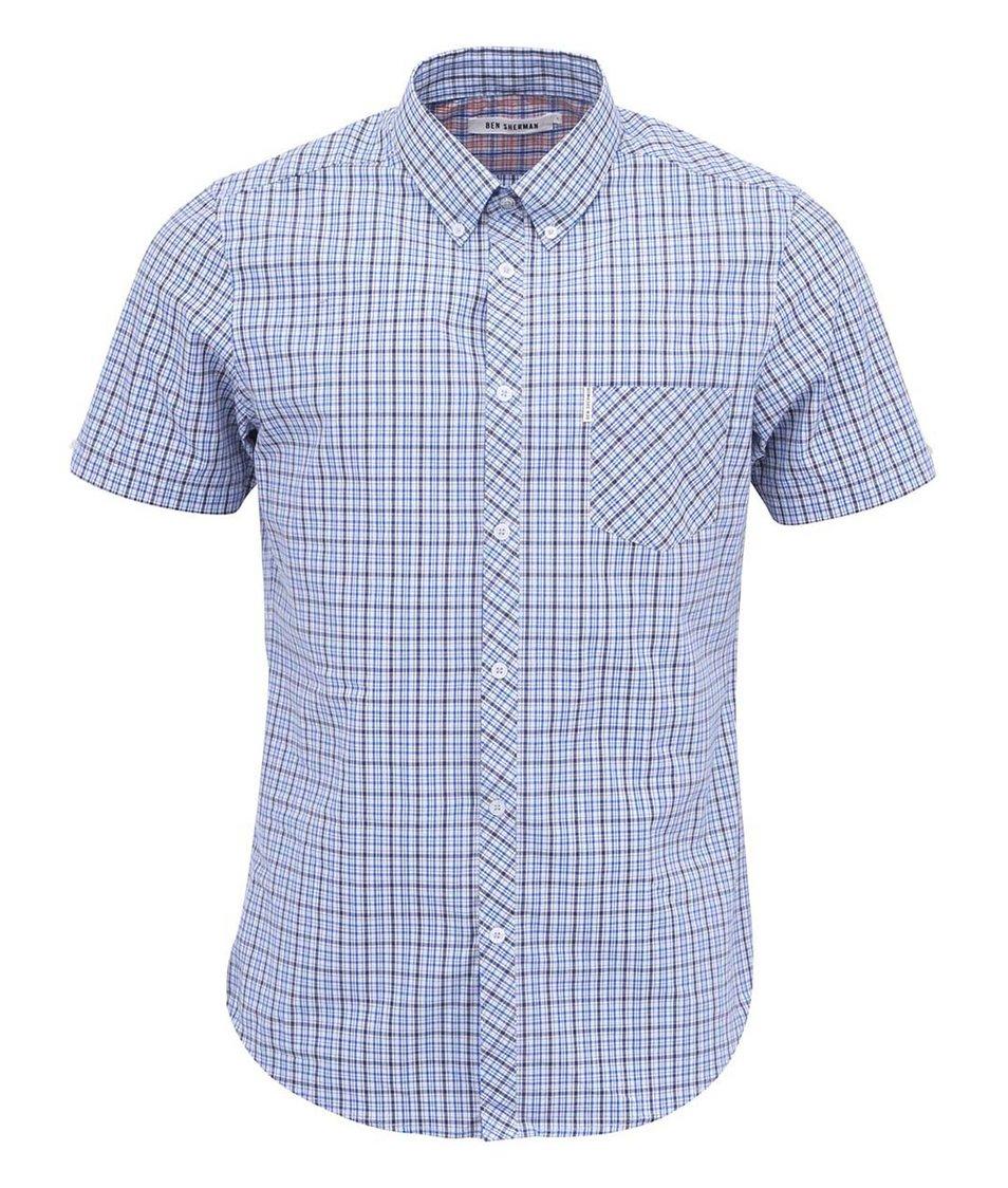 Modrá košile s tartanovým vzorem a krátkými rukávy Ben Sherman