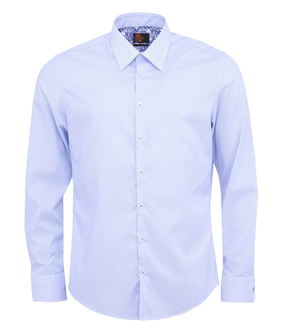 Modrá pruhovaná košile Seidensticker Kent Classic Patch 98 Super Slim Fit
