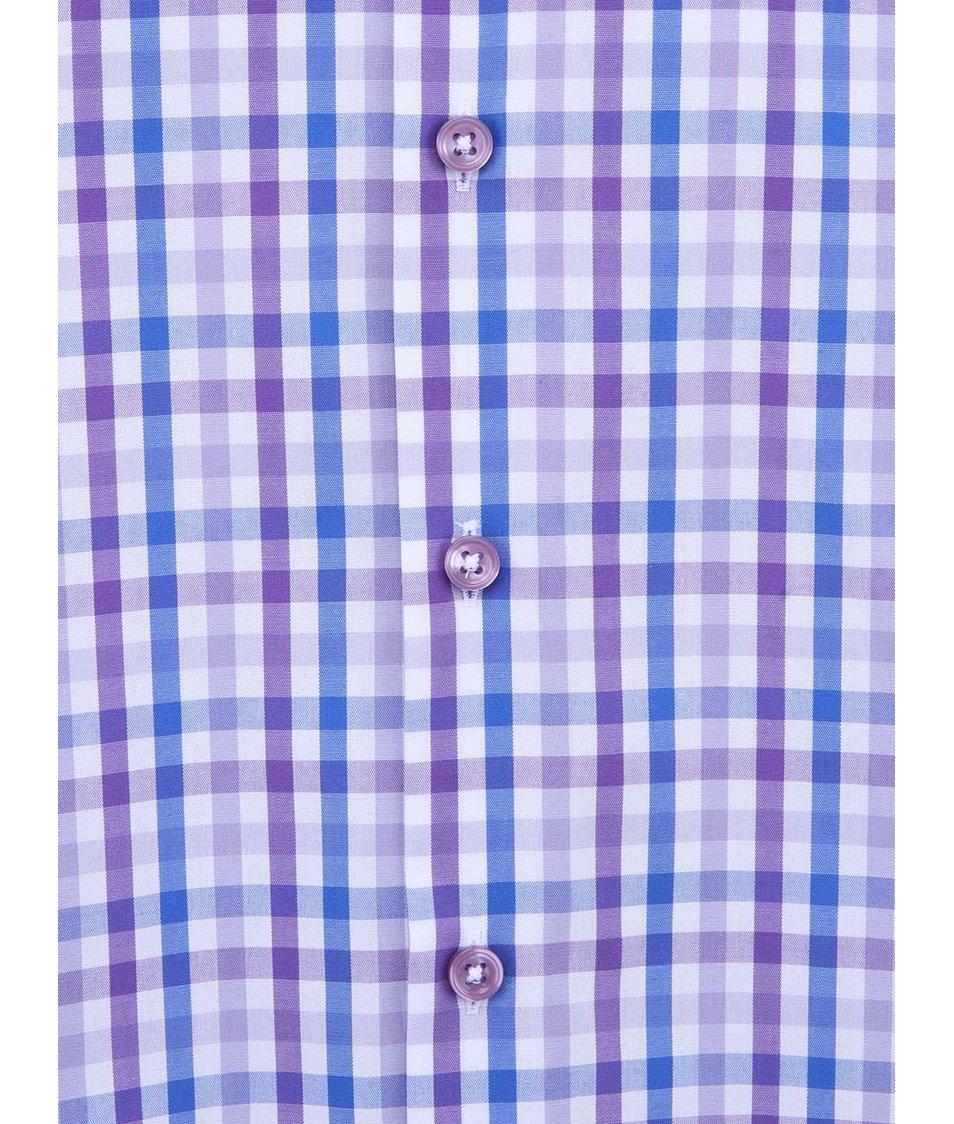 Fialová kostkovaná košile Seidensticker BD Patch Regular Fit