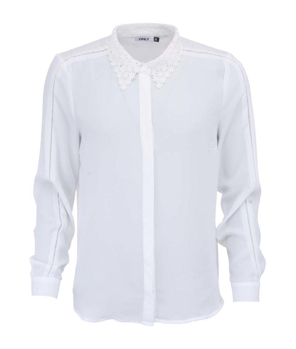 Bílá košile s krajkovaným límečkem ONLY Deta