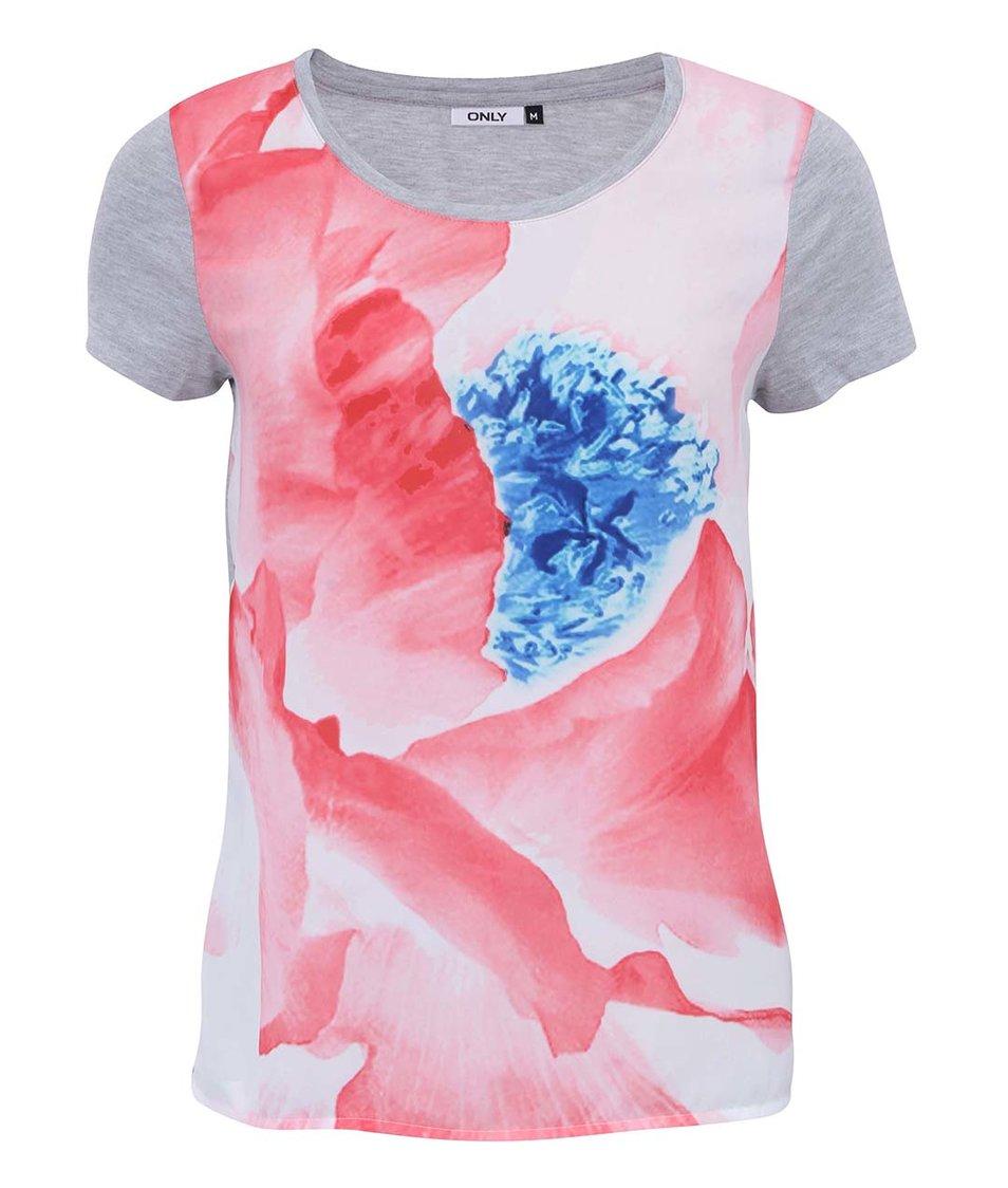 Šedé tričko s barevným potiskem ONLY Pli