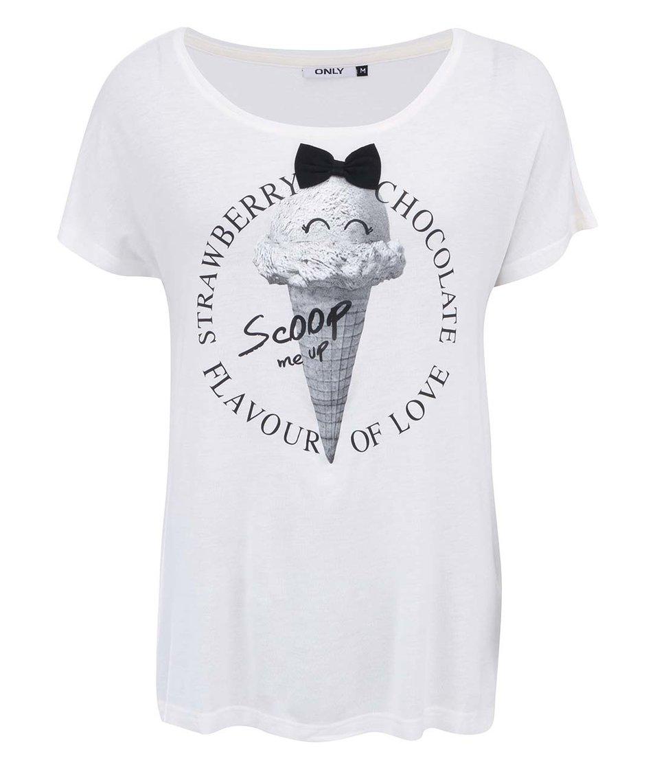Krémové tričko se zmrzlinou ONLY Belle