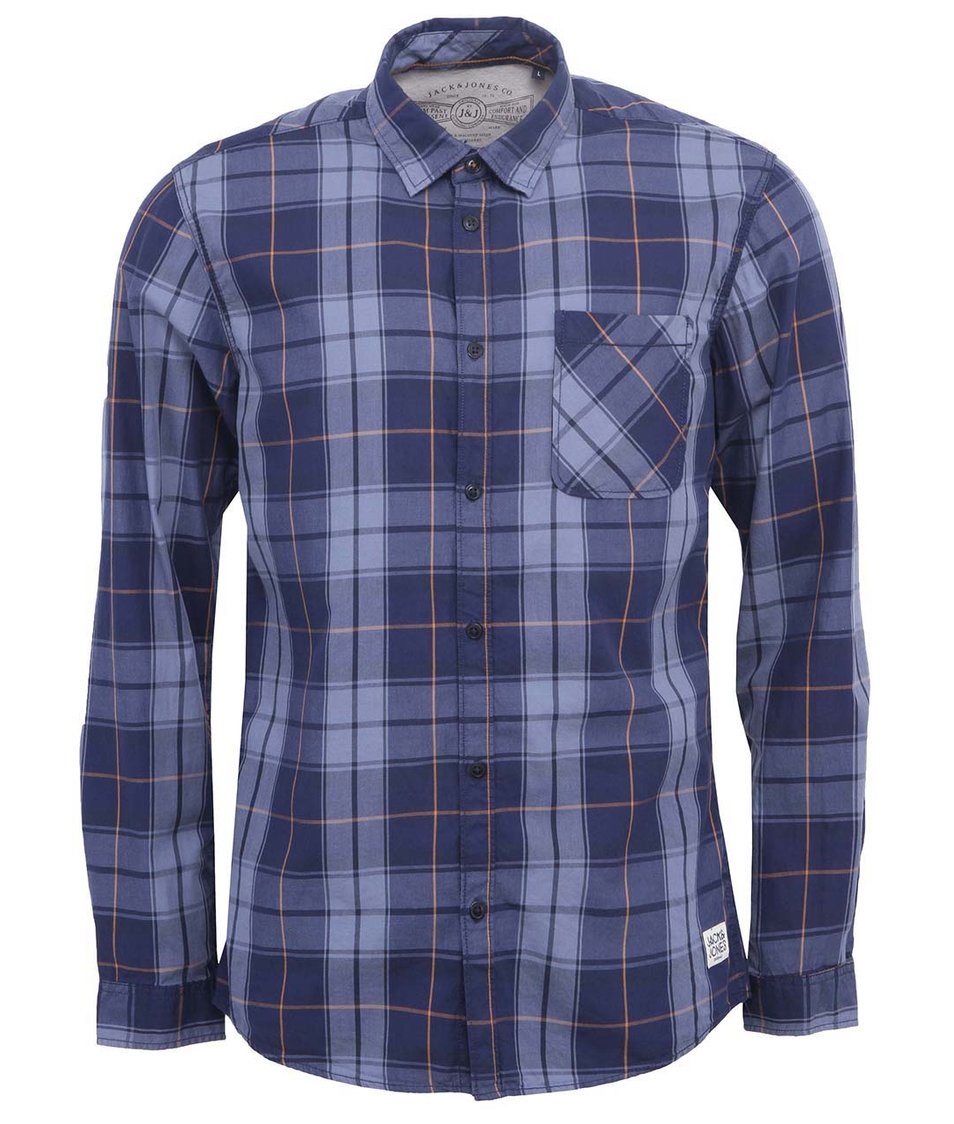 Modrá kostkovaná košile Jack & Jones Live