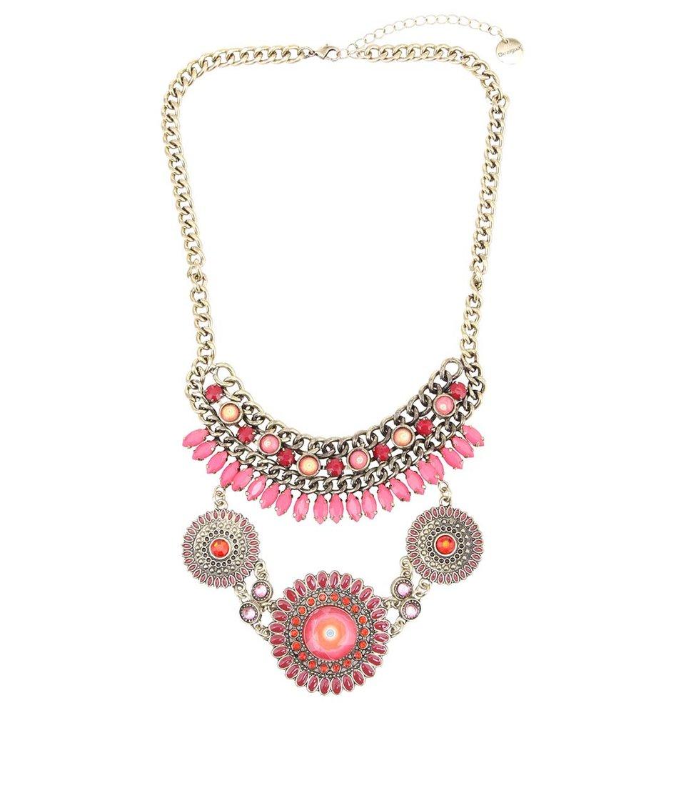 Růžový kovový náhrdelník Desigual